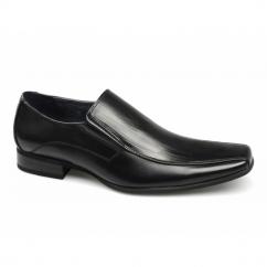LYNDON Mens Tramline Chisel Slip On Shoes Black