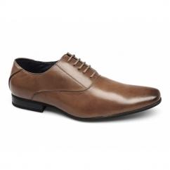 HENDRICK Mens Lace-Up Chisel Toe Shoes Tan