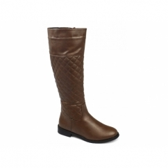 MABEL Ladies Quilted Faux Leather Knee High Riding Boots Brown