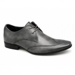 MILAN Mens Leather Chisel Toe Wingtip Shoes Grey