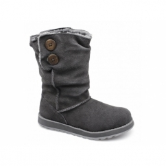 KEEPSAKES FREEZING TEMPS Ladies Suede Fur Lined Winter Boots Charcoal