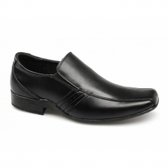 CRADDOCK Boys Leather Slip-On School Shoes Black