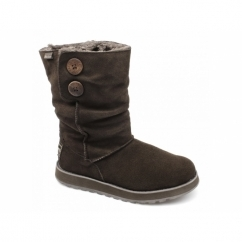 KEEPSAKES FREEZING TEMPS Ladies Suede Fur Lined Winter Boots Chocolate