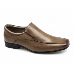 BELMONT Boys Leather Tramline Loafers Tan