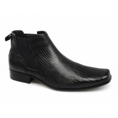 ANSON Mens Croc Leather Chelsea Boots Black