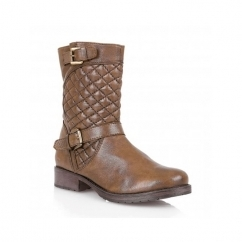 CONROE Ladies Leather Quilted Mid-Calf Boots Tan