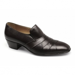 FRANCISCO Mens Leather Pleated Cuban Heel Shoes Dark Brown