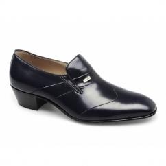 GINO Mens Leather Wingtip Cuban Heel Shoes Navy