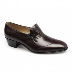 GINO Mens Leather Wingtip Cuban Heel Shoes Oxblood