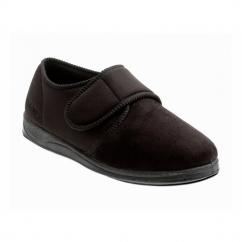 CHARLES Mens Microsuede Velcro Wide (G) Fitting Slippers Black