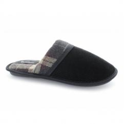 PALMER Mens Tartan Corduroy Padded Mule Slippers Black