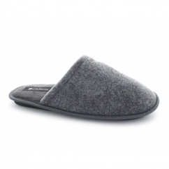WARREN Mens Warm Padded Mule Slippers Grey