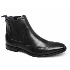 NICHOLAS Mens Faux Leather Brogue Chelsea Boots Black