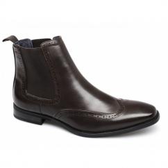 NICHOLAS Mens Faux Leather Brogue Chelsea Boots Brown