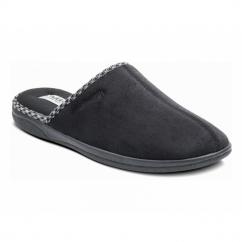 LUKE Mens Microsuede Wide (G) Fitting Mule Slippers Black