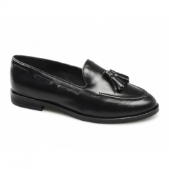 LELIANA Ladies Leather Tassel Loafers Black