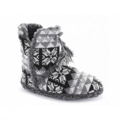 ABIGAIL Ladies Warm Tassle Nordic Bootie Slippers Brown/Grey