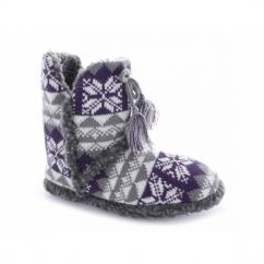 ABIGAIL Ladies Warm Tassle Nordic Bootie Slippers Purple/Grey