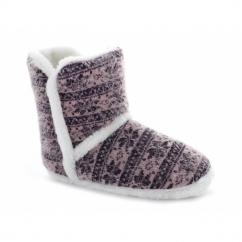 LORNA Ladies Warm Nordic Bootie Slippers Pink/Purple
