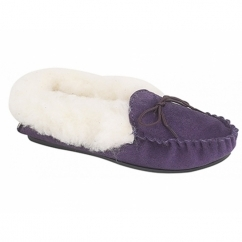 KIRSTY Ladies Suede Moccasin Slippers Purple