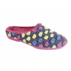 AMY Ladies Spotted Knit Mule Slippers Fuchsia