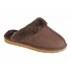 TONI Ladies Faux Suede Warm Lined Mule Slippers Dark Brown
