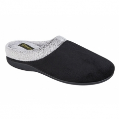 GLENYS Ladies Velour Mule Slippers Black