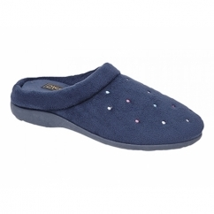CHARLEY Ladies Velour Mule Slippers Navy Blue