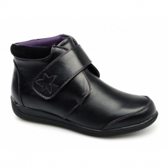 MAE Ladies Touch Fasten Dual Fit Wide EE/EEE Boots Black