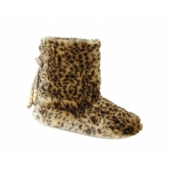 TAYLA Ladies Faux Fur Boot Slippers Leopard