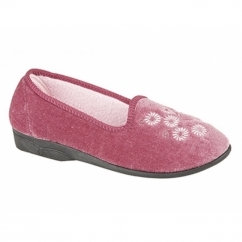 CATHY Ladies Embroidered Slipper Textile Heather Velour