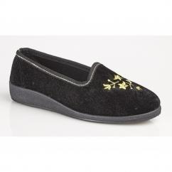 FAY II Ladies Floral Motif Slippers Velour Black