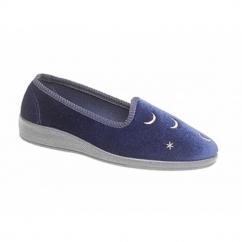 HALENA Ladies Moon & Stars Mule Slippers Navy Blue