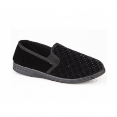 KEVIN Mens Textile Basic Slippers Black