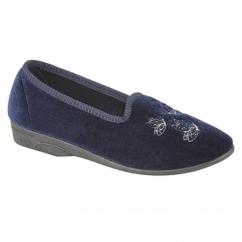CELIA Ladies Embroidered Tab Slippers Navy Blue