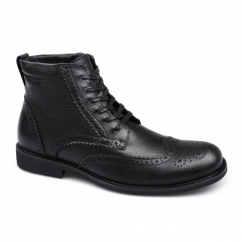 BAKER Mens Leather Brogue Derby Boots Black