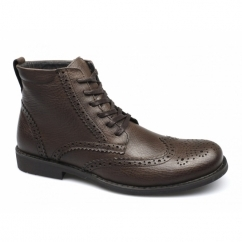 BAKER Mens Leather Brogue Derby Boots Brown