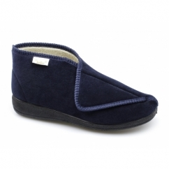 AGNES Ladies Touch Fasten Boot Slippers Navy