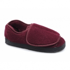 VELVIT Ladies Touch Fasten Comfy Full Slippers Burgundy