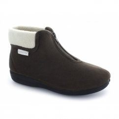 DEB Ladies Velour Warm Zip Boot Slippers Brown