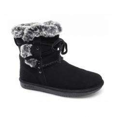 SHELBYS Ladies Suede Warm Winter Boots Black