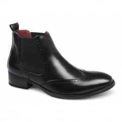 LANDEN Mens Brogue Wingtip Chelsea Boots Black