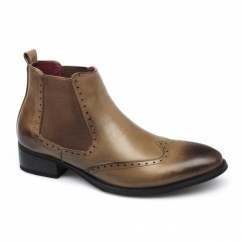 LANDEN Mens Brogue Wingtip Chelsea Boots Tan