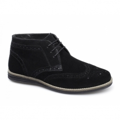 MAYO Mens Suede Brogue Desert Boots Black