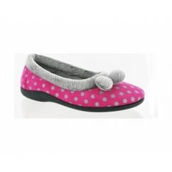 NICE Ladies Ballerina Slip On Slippers Fuchsia