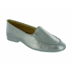 FORNELLS Ladies Leather Slip On Slippers Pewter