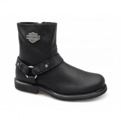 SCOUT Mens Leather Zip Harness Boots Black