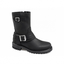 SCARLET Ladies Leather Zip Buckle Biker Boots Black