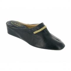 GALDANA Ladies Leather Mule Slippers Navy