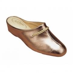 GALDANA Ladies Leather Mule Slippers Pewter